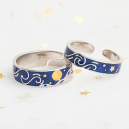 sun moon ring UK - Enamel Couple Rings Jewelry 925 Silver Glitter Sky Gold Moon Star Sun Canvas Finger S925 Ring Romantic for Women