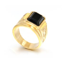 eb9e49000cef Negro Piedra Para Hombre Signet Anillos Anillo de Oro de Acero Inoxidable  Grabado Dragón Boda de Moda Vintage Anillo de Joyería Simple masculino