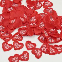 Wedding Bedding Australia - 1000pcs Diameter 3.5cm Heart Shaped Sponge I LOVE YOU Confetti Wedding Party Marriage Room Bed Petals Valentine Day Supplies