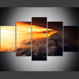 oil painting landscapes dark Australia - 5 Piece Large Size Canvas Wall Art Pictures Creative Dark Clouds In The Sky Poster Art Print Oil Painting for Living Room