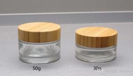 $enCountryForm.capitalKeyWord NZ - Clear Glass cream Jar 105pcs*30g 112pcs*50g Wooden Cap Wood Lid Glass Jar Cosmetics Cream Packing Container