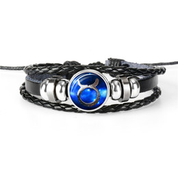 Gem Men Australia - 2019 New 12 Constellation Zodiac Taurus Time Gem Glass Cabochon Bracelet Cowhide Leather Rope Beads Charm Bangles For Women Men Jewelry Gift