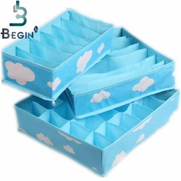 necktie boxes NZ - Blue Various Grid Pattern Fashion Convenient Folding Storage Box Bag for Bra Underwear Necktie Sock Organizer