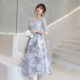 $enCountryForm.capitalKeyWord Australia - Silver Gray Lace Short Modest Bridesmaid Dresses With 1 2 Sleeves A-line Tea Length Cheap Party Dresses Inexpensive Wed Party Dress