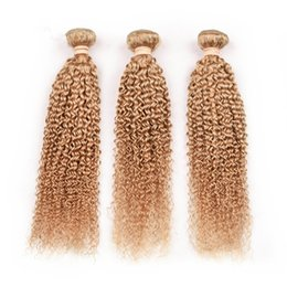 Discount honey blonde kinky curly hair - Malaysian Virgin Human Hair #27 Honey Blonde Kinky Curly Bundles Deals 3Pcs Lot Curly Light Brown Human Hair Weaves Exte