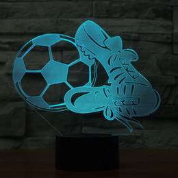 Christmas Gift Shoes Australia - Novelty 7 Color Change 3D Atmosphere Nightlight Home Decor Soccer And Shoes LED Football Life Desk Lamp Kid Gift Sleep Lightings