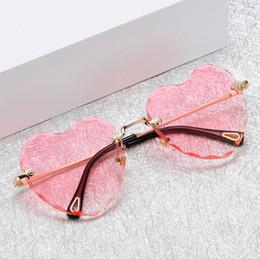 Discount heart shaped mirror sunglasses - 2019 Fashion Rimless sunglasses women New Arrival Heart shape Love eyewear female Good Quality Sun Glasses UV400 Travel
