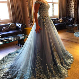 Gown eveninG dress scoop neck online shopping - Fantastic Light Blue D Flowers Appliques Ball Gown Quinceanera Dresses Off The Shoulder Backless With Corset Junior Sweet Evening Gowns