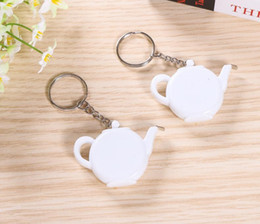 teapot party favor Australia - Love is Brewing Teapot Plastic Measuring Tape Keychain Portable Mini Key Chain Wedding Christmas Gift Favors SN2793