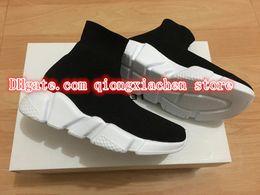 $enCountryForm.capitalKeyWord Australia - HOT SALE Children Shoes High-Top Ankle Knitted Shoes Breathable Parent Kids Casual Flats Socks Shoes Slip On Black EUR 25-35#