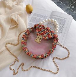 $enCountryForm.capitalKeyWord NZ - wholesale women handbag summer new wool hand-woven bag sweet girl transparent Pearl chain bag summer Candy-colored hand-woven crochet beach