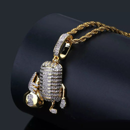 white money bag NZ - New Hip Hop Copper Microphone Holding Money Bag Iced Out Cubic Zircon Pendant Necklace Men Jewelry