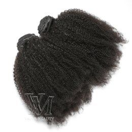 remy human hair bundles Canada - VMAE Peruvian Remy Virgin Hair Afro Kinky Curly Weft Natural Color Soft 3 Bundles 4C Curly Unprocessed Human Hair Weaves Extensions