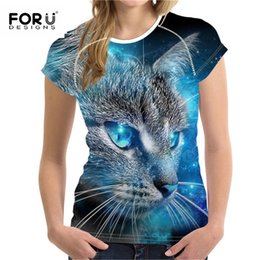 $enCountryForm.capitalKeyWord Australia - Forudesigns Plus Size S-xxl Women Summer T-shirt 3d Printted Tshirt For Ladies Fashion Female Tee Tops Cartoon Cat Pattern S19715