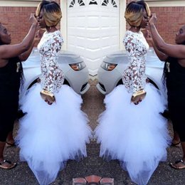 Images White Evening Dresses Australia - 2019 African White Mermaid Lace Prom Dresses for Black Girls Long Sleeves Ruffles Tulle Floor Length Plus Size Evening Prom Gowns BA5080