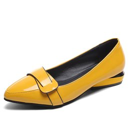 Lady S Shoes UK - Spring Autumn Women Flats Patent Leather Shoes Women 39 S Shoes Female Yellow Red Office Lady Work Slip-On Shallow Casual Loafers Career