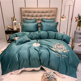 washing silk pillowcases Australia - New 60S American Style Flower Embroidery Washed Silk Soft Bedding Set Duvet Cover Bed Linen Fitted Sheet Pillowcases for Summer T200615