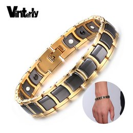 toggle chain bracelet NZ - Vinterly Steel Magnetic Bracelet Male Black Ceramic Energy Germanium Bracelets Men Hand Chain Gold Color Hologram Bracelets 2018 J190721