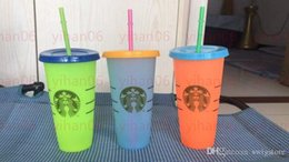 Starbucks 24oz Color Changing Tumblers Magic Plastic Drinking cup with lid and straw Candy colors magic coffee mug Custom logo! on Sale