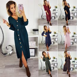 Beauty dress clothes online shopping - V Collar Dress Fork Opening Pure Colors Elastic Waist Long Sleeves Dresses Women Beauty Home Clothing ze E1