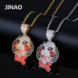 $enCountryForm.capitalKeyWord Australia - Jinao Hip Hop Jewelry Cubic Zircon Gold Silver Saw Horror Movie Theme Iced Out Chain Men's Gifts 69 Saw Clown Pendant Necklaces J190625