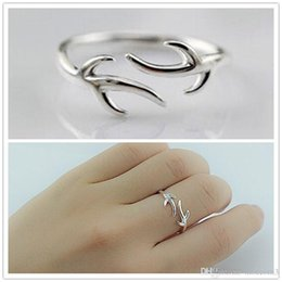 $enCountryForm.capitalKeyWord Australia - 10pcs Fashion 925 Silver Animal Antler Rings For Women Adjustable Open Finger Ring Best Christmas Gift