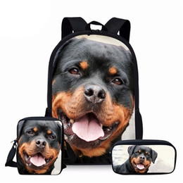 Discount dog backpack for kids - NOISYDESIGNS Rottweiler Dog School Bags Student School Backpack for Teenager Boys Orthopedic Schoolbag Backpack Kids Boo
