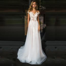 $enCountryForm.capitalKeyWord Australia - 2019 Elegant White Lace A Line Wedding Dresses Cap Sleeves Bridal Dresses Sheer Neck Sweep Train Country Wedding Gowns Vestido de Noiva