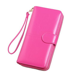 note 12 Australia - 12 color Oil wax leather wallet retro oil skin phone bag long zipper coin bag women's card bag bills folder