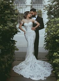 $enCountryForm.capitalKeyWord Australia - 2020 Luxury Arabic Mermaid Wedding Dresses Sweetheart Lace Appliques Sleeveless Illusion Court Train Plus Size Open Back Formal Bridal Gowns