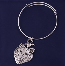 $enCountryForm.capitalKeyWord Australia - Antique Silver Wolf With Raven Charm Viking Totem Odin Symbol Animal Amulet Men and Women's Bangle