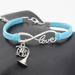 Horn Charms Wholesale NZ - Fashion Charm Female Male Blue Leather Suede Jewelry Infinity Love Music Trumpet French Horn Musical Instrument Bracelets Bangles Women Men