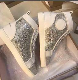 $enCountryForm.capitalKeyWord Australia - NEW Design Red Bottom Men High Top Sneakers, Rhinestone Crystal Men\'s Flat Suede Casual Walking Shoes With Box Dust Bag Wholesale