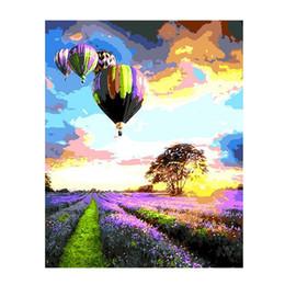 Lavender Wall Stickers Australia - Lavender Field Hot-air Balloon DIY Digital Oil Painting Wall Decoration