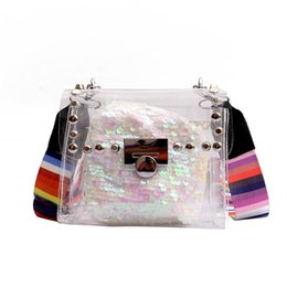 Single Cables Australia - Lucky2019 Jelly Transparent Broadband Paillette Single Shoulder Package All-match Cable Satchel