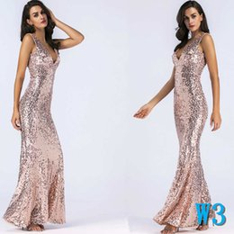 wholesale sexy mermaid maxi dress Australia - Summer Women Dress V-neck Sexy Skinny Dress with Sequins Embroidery Short Sleeve Mermaid Women's Dress Beautiful RunwayW3