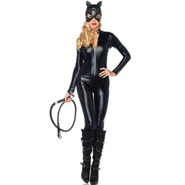 $enCountryForm.capitalKeyWord Australia - Sexy Costumes Adult Women Deluxe Leather Rider Motorcycle Jacket Cat Lady Catwoman Costume Catsuit Jumpsuit with Hat