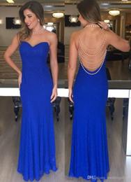 e6f0770633d790 Blau Ballkleider Lange Günstige Robes de Bal Mantel Halfter Formale Abend  Party Kleider mit Perlen Black Girl Sweet 16 Kleid
