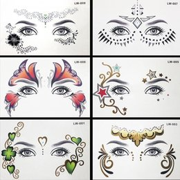 Golden Body Painting Australia - 8pcs lot Body Paint Masquerade Golden Flash Tattoo Paste Face Temporary Tattoos