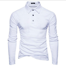 long sleeved polo shirts Canada - Autumn Winter new men's lapel Long sleeved T shirt casual Contrast Color Patchwork POLO shirt male