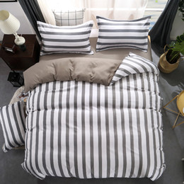 dark grey bedding 2019 - Fashion new Black white Grey Classic bedding set striped duvet cover white bed linen set Geometric flat sheet queen bed