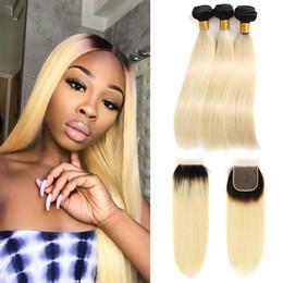 $enCountryForm.capitalKeyWord Australia - Ombre Blonde Bundles With Closure Two Tone 1B 613 Black Blonde Hair Bundles with Lace Closure Dark Roots 10-24 Inch Remy Hair Weave