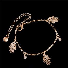 Fashion Bracelets Anklets Australia - SHUANGR 2018 trendy hamsa Anklet bracelet on the leg for women fashion gold chian on foot girl Beach ankle Bracelets jewelry