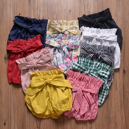 Hottest Girl Short Pants NZ - Baby Girls Bow Knot Lantern Pants Summer Kids Designer Clothing Hot Sale Little Girls Solid Color Short Pants Bloomers 11 Colors