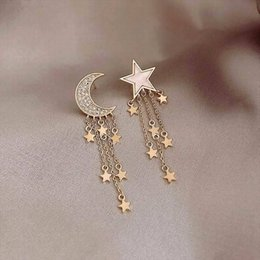 hot bijoux Australia - Fashion Moon Star Tassel Long Earrings Korean Style Women AB Earrings 2019 New Hot Jewelry Bijoux