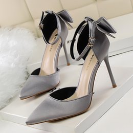 Silver Falls Australia - Dress Ladies Heels New 2019 Fall Extreme Sexy Kitten Pink Pointed Silver Platform Shoes Woman Fashion Brand Buckle Wedding Silk Heels