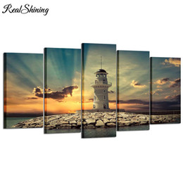 5d diamond UK - 5D diy diamond Painting 5 Pieces Beautiful Landscape Lighthouse diamond embroidery Needlework diamond picture home decor FS5011