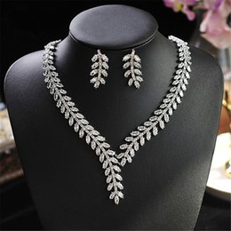 gold necklaces for prom UK - Top Quality 3A Zircon Necklace Earrings Jewelery Set Wedding Bridal Jewelleries Bride's Jewels for Evening Party Prom Luxury Jewellery Sets