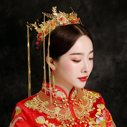 tiaras hair headpieces Australia - Wedding Bridal Tiara Hair Jewelry Golden Alloy Headdress Tassel Headpiece Queen Round Crown Ancient Chinese Style Headwear Gifts