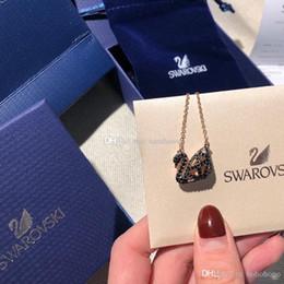 Box Brand Glasses NZ - New fashion jewelry designer necklace womens luxury pendant austrian famous brand swan silver Collar fashion Bijoux de dames original box